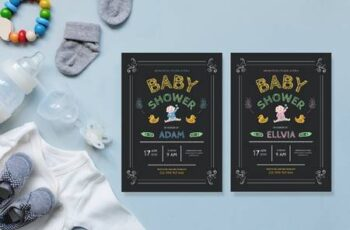 Simple Chalkboard Drawing - Baby Shower Invitation WWQVY7M 3