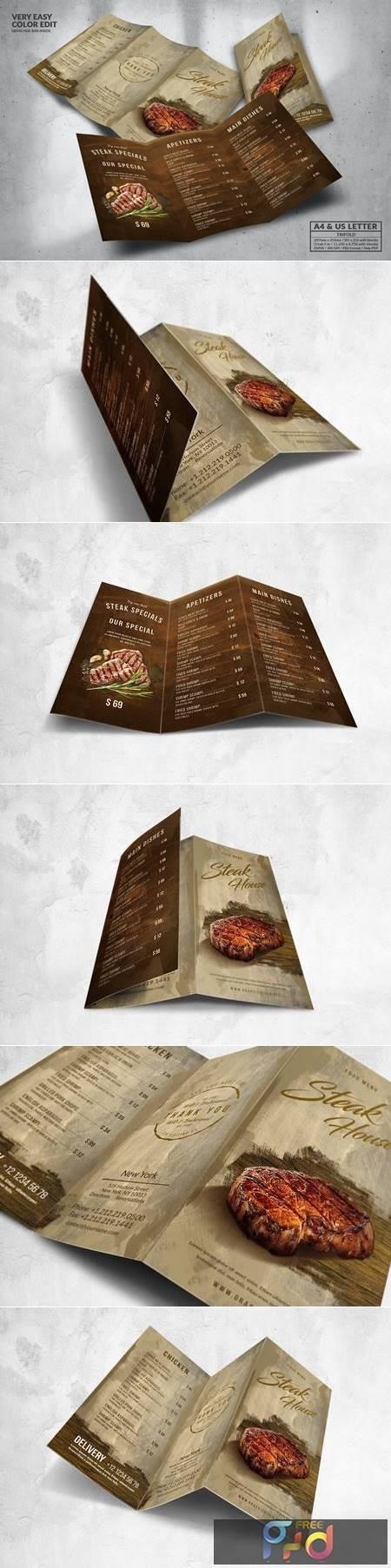 Steak House Food Menu Design A4 & US Letter PT9XLBB 1