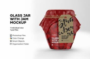 Glass Strawberry Jam Jar with Mockup 5134260 5