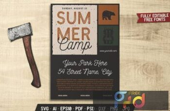 Summer Camp Retro Flyer HRRW4UB 12