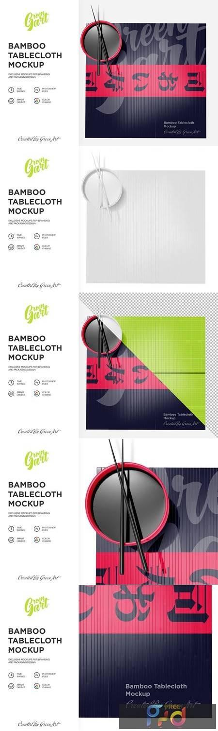 Bamboo Tablecloth Mockup - Top View 2331533 1