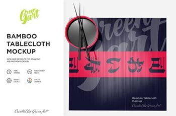 Bamboo Tablecloth Mockup - Top View 2331533 7