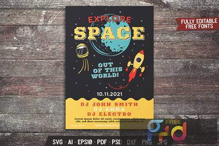 Explore Space Retro Flyer 5NQTPDU 1
