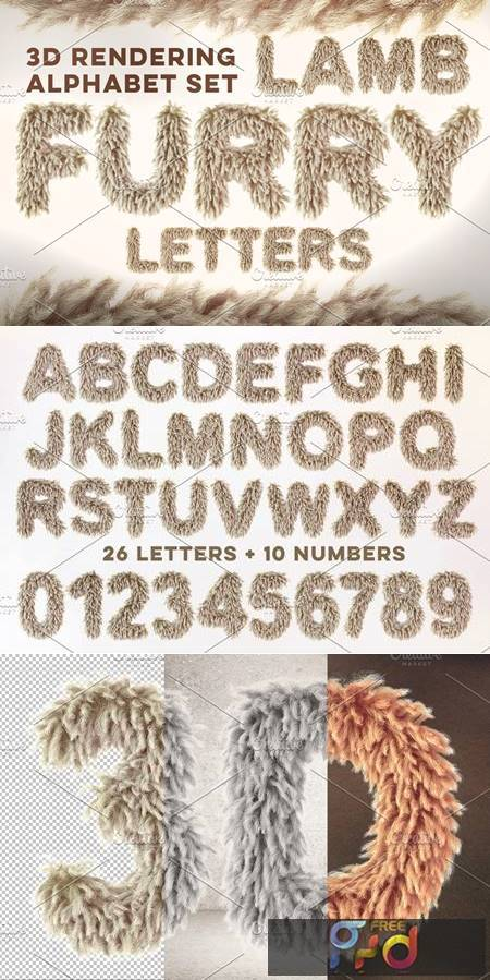 3D Lamb Furry Letters Pack 582429 1