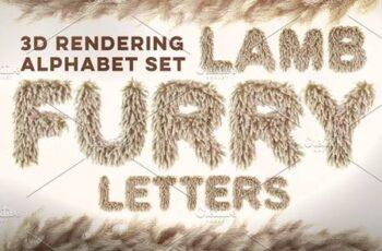 3D Lamb Furry Letters Pack 582429 5