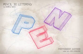 Pencil 3D Lettering - Photoshop Action 28400095 3
