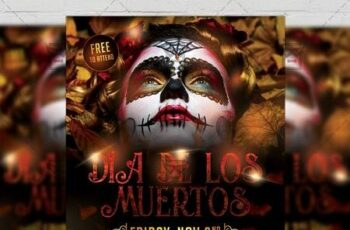 Dia de Los Muertos Flyer - Seasonal A5 Template 21294 6