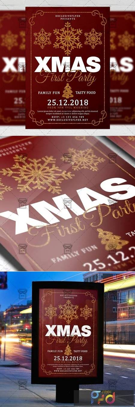 First Christmas Party Flyer - Seasonal A5 Template 21142 1