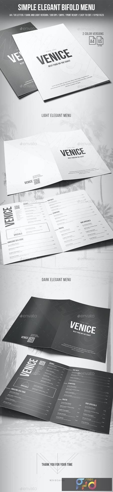 Simple Elegant Bifold Menu - A4 and US Letter - 2 Color Version 20265107 1