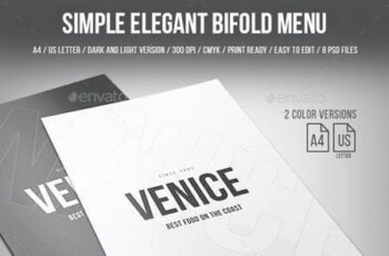 Simple Elegant Bifold Menu - A4 and US Letter - 2 Color Version 20265107 4