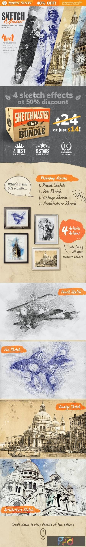 4-in-1 Sketch Master Photoshop Action Bundle 28477138 1