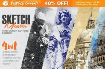 4-in-1 Sketch Master Photoshop Action Bundle 28477138 9