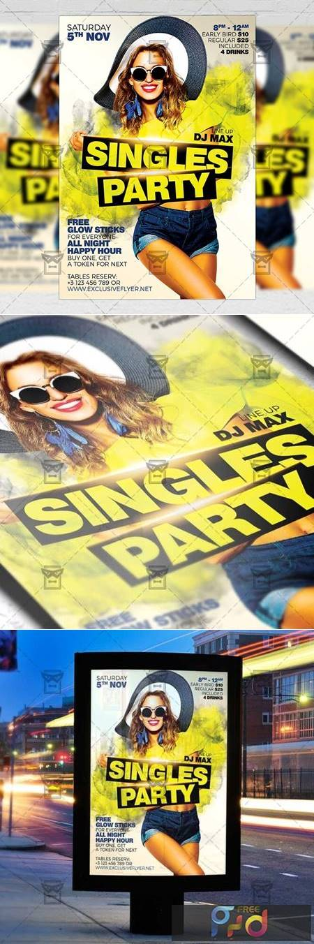 Singles Party Flyer - Club A5 Template 21306 1