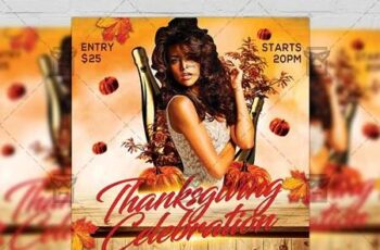 Thanksgiving Celebration Flyer - Autumn A5 Template 21281 5