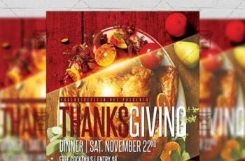Thanksgiving Dinner Flyer - Autumn A5 Template 21374 7