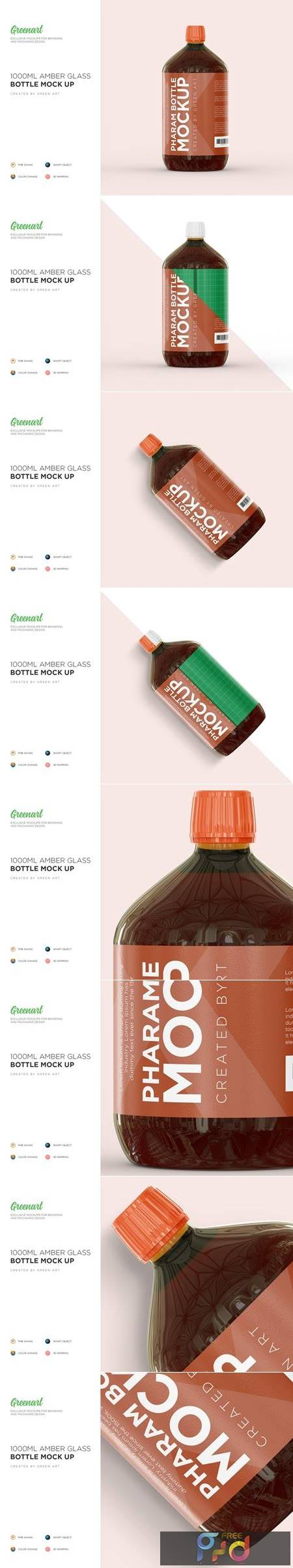 1000ml Amber Glass Bottle Mockup 3082981 1