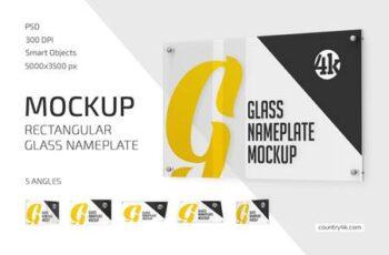 Rectangular Glass Nameplate Mockup Set 5269985 3