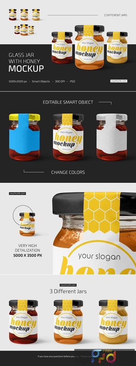 Glass Jar with Honey Mockup Set 5276530 1