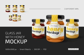 Glass Jar with Honey Mockup Set 5276530 3