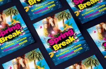 Spring Break Party Flyer 8XXKZTW 1