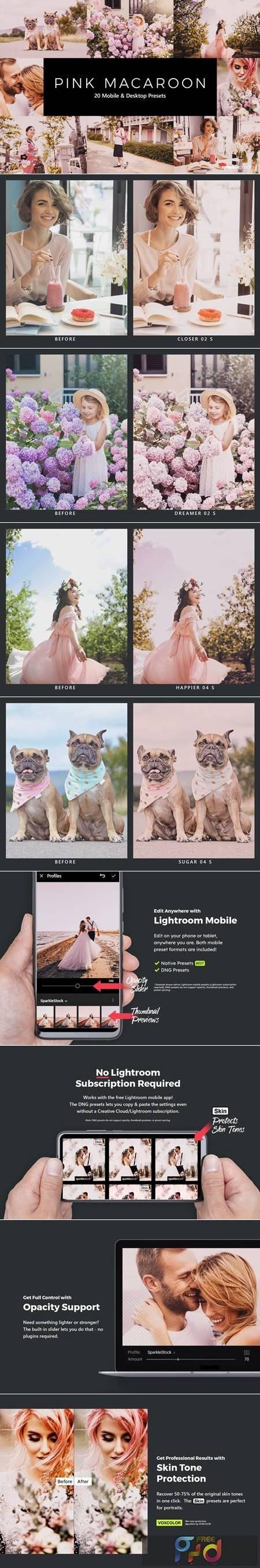 20 Pink Macaroon Lightroom Presets & LUTs YMQXPSE 1