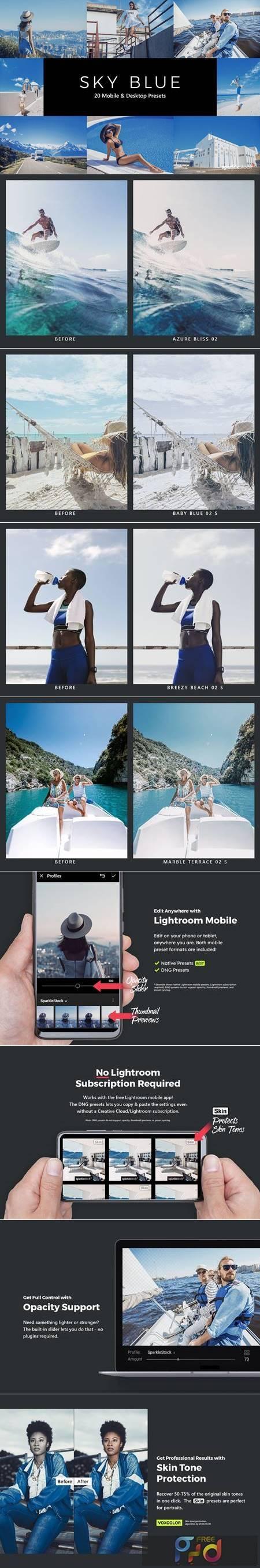 20 Sky Blue Lightroom Presets & LUTs QDFHAV3 1