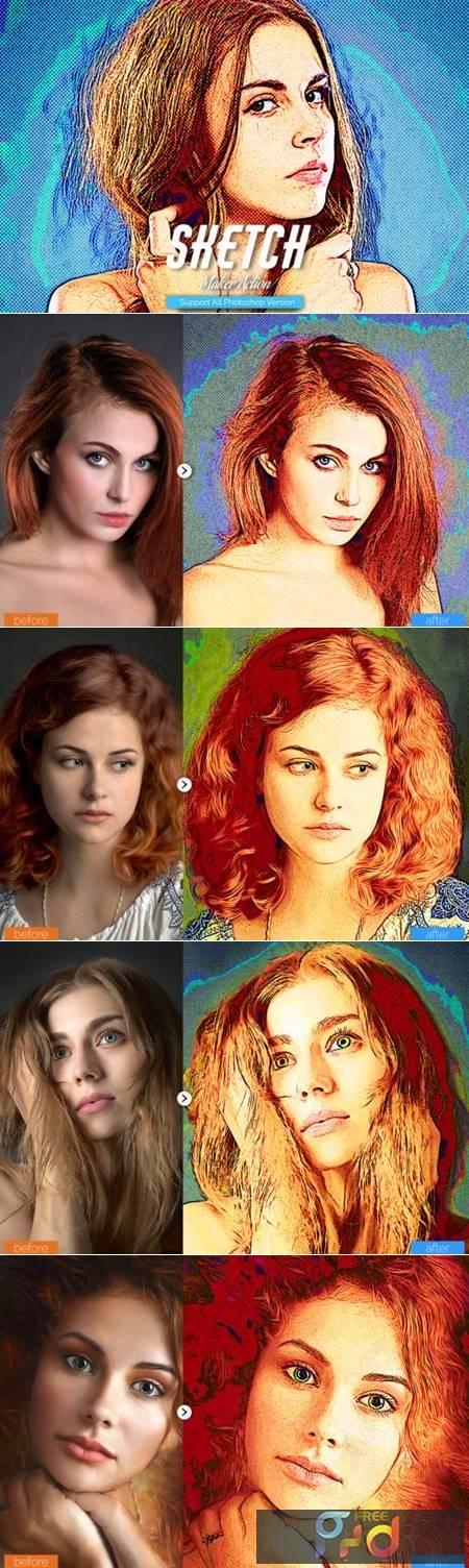 Color Sketch Photoshop Action 5910820 1