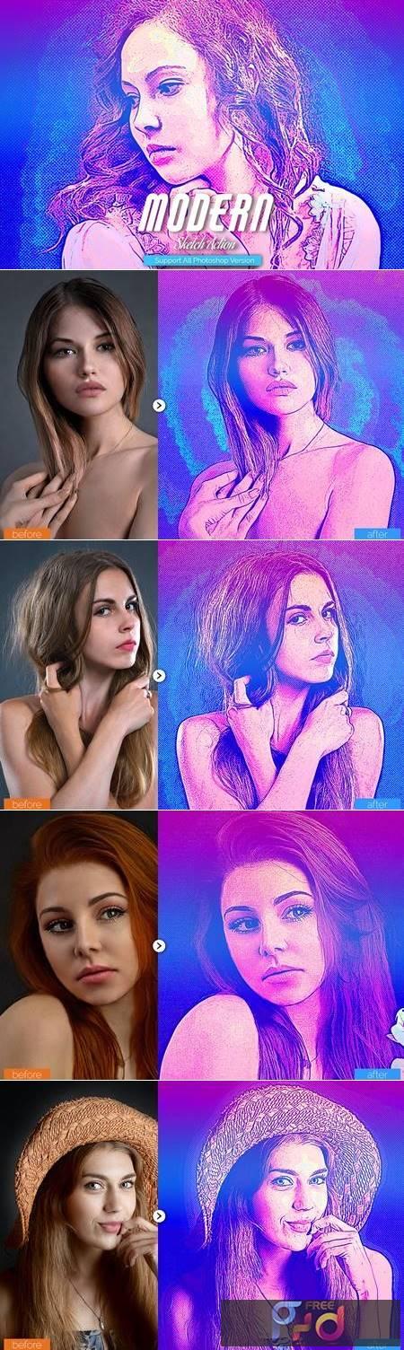Modern Sketch Photoshop Action 5467530 1
