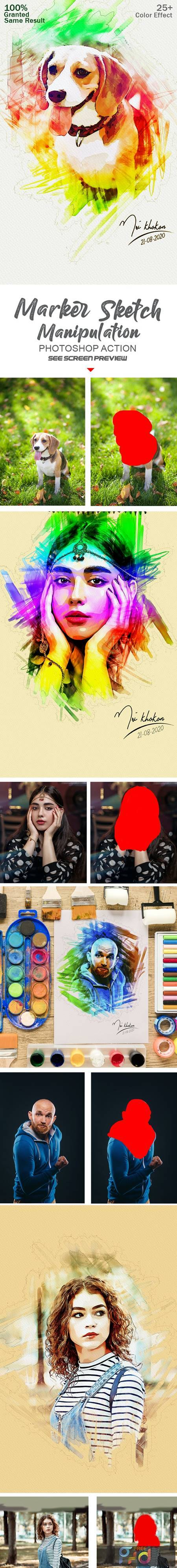 Marker Sketch Photoshop Action 28287245 1