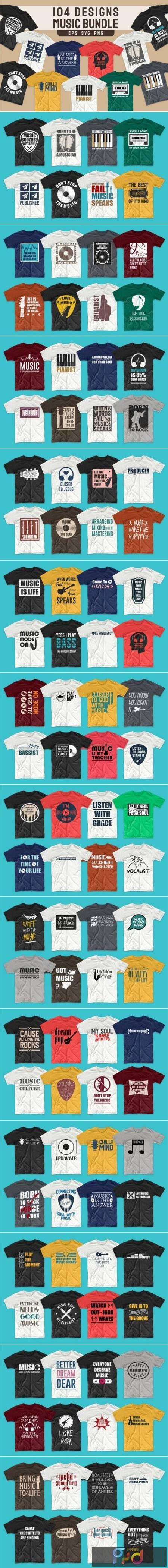 T-shirt Designs Bundle Music Slogans 5657069 1