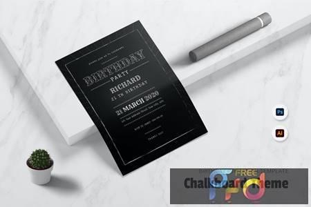 Chalkboard theme Birthday Invitation 4M8367V 1