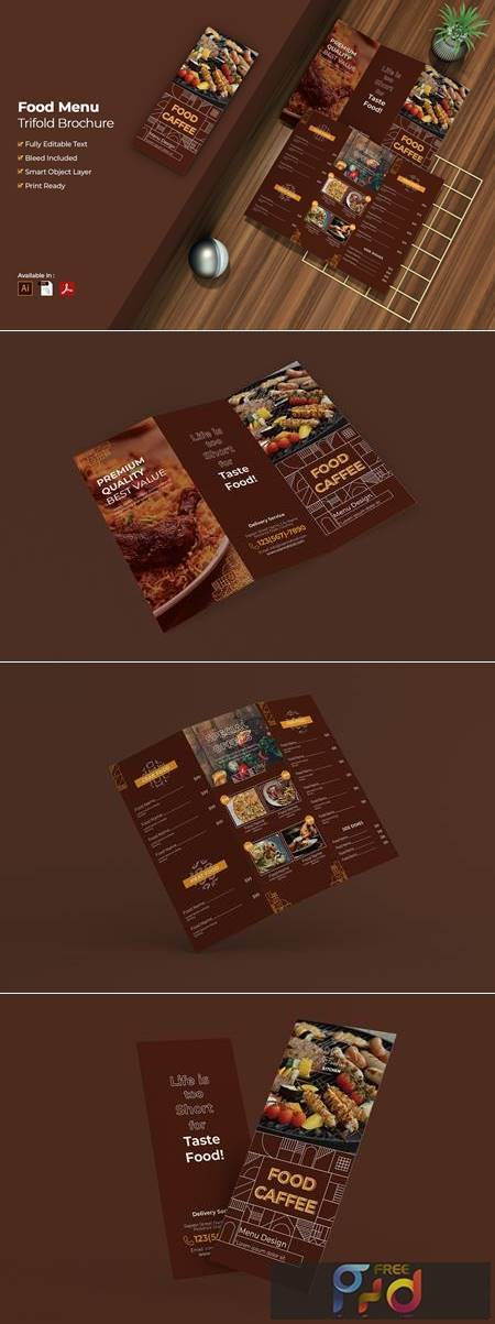 Food Menu Trifold Brochure FQTD2VA 1