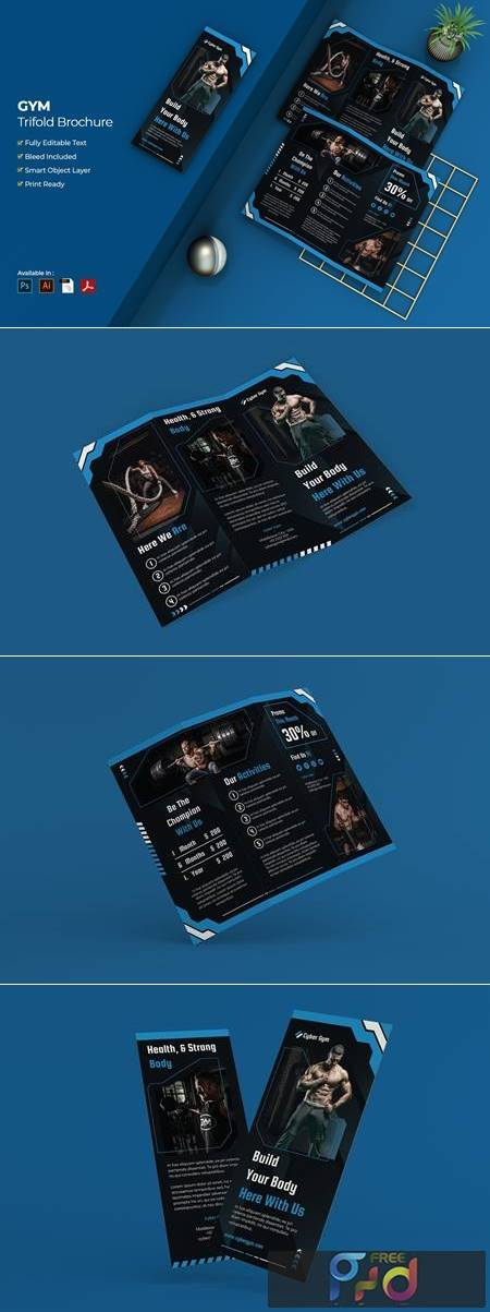 Gym and Fitness Trifold Brochure S7FJGWE 1