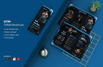 Gym and Fitness Trifold Brochure S7FJGWE 3