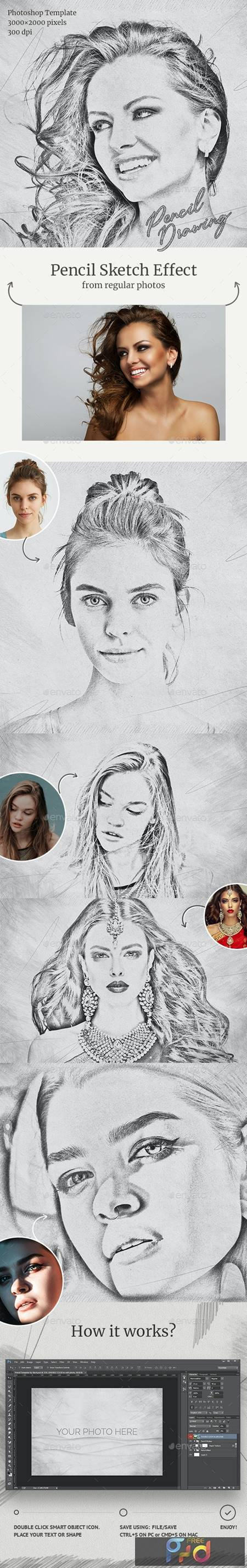 Pencil Drawing Photoshop Template 28663627 1