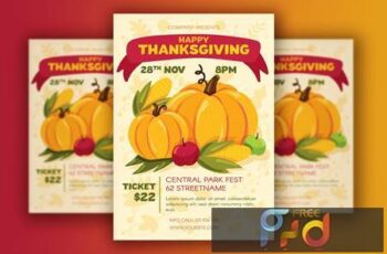 Thanksgiving Poster With Harvest CU6HUJW 4