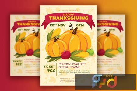 Thanksgiving Poster With Harvest CU6HUJW 1
