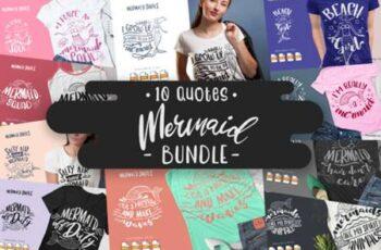 10 Mermaid Bundle - Lettering Quotes 6037529 6