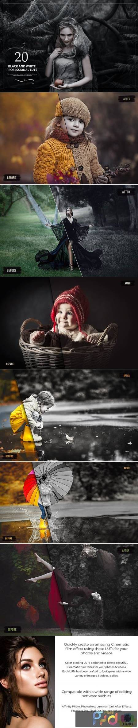 20 Black&White LUTs (Look Up Tables) 4UV7XH4 1