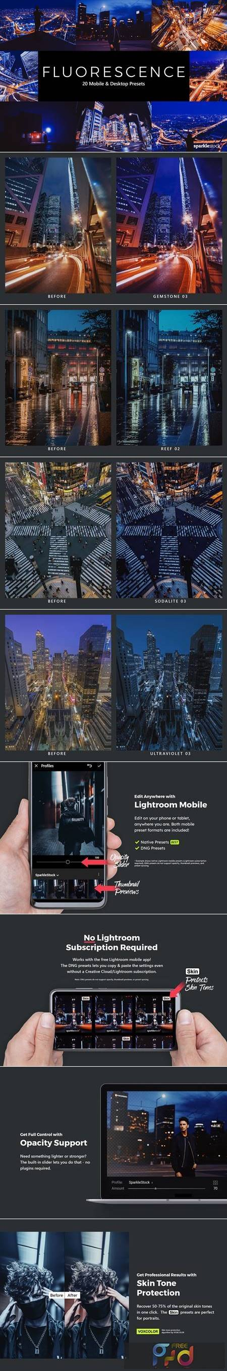 20 Fluorescence Lightroom Presets & LUTs 5471841 1