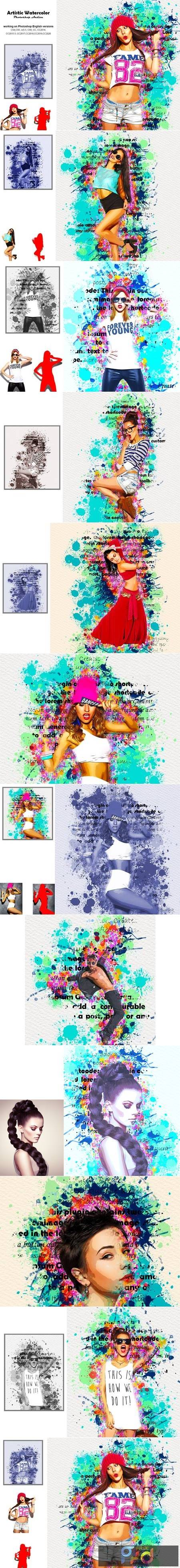 Artistic Watercolor Photoshop Action 5236288 1
