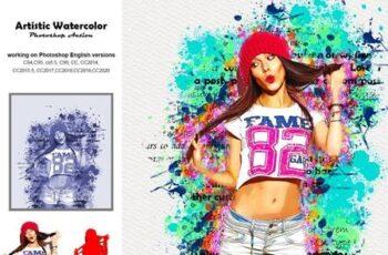 Artistic Watercolor Photoshop Action 5236288 1