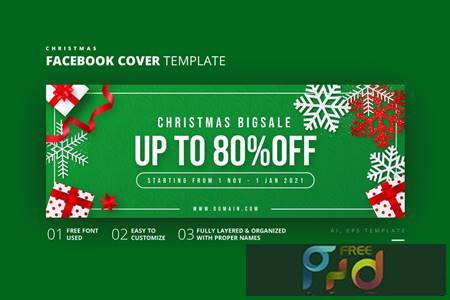Christmas Facebook Cover Template FH84HSG 1