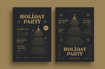 Holiday Gold Christmas Event Flyer HD5EQ33 1