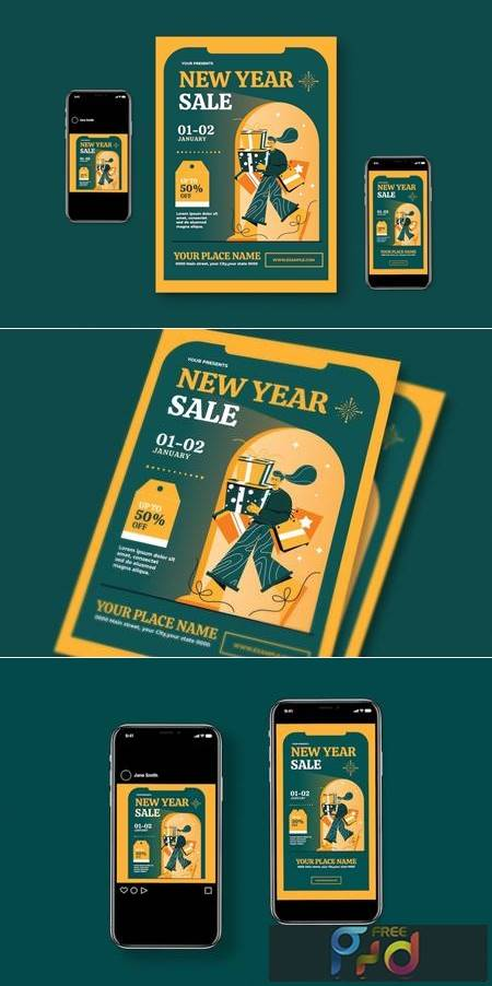 New Year Sale Flyer Set A4ZHQLP 1