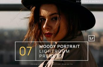 7 Moody Portrait Lightroom Presets + Mobile 4VCL7CQ 3