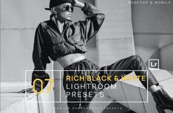 7 Rich Black & White BW Lightroom Presets + Mobile HQDPA3V 5