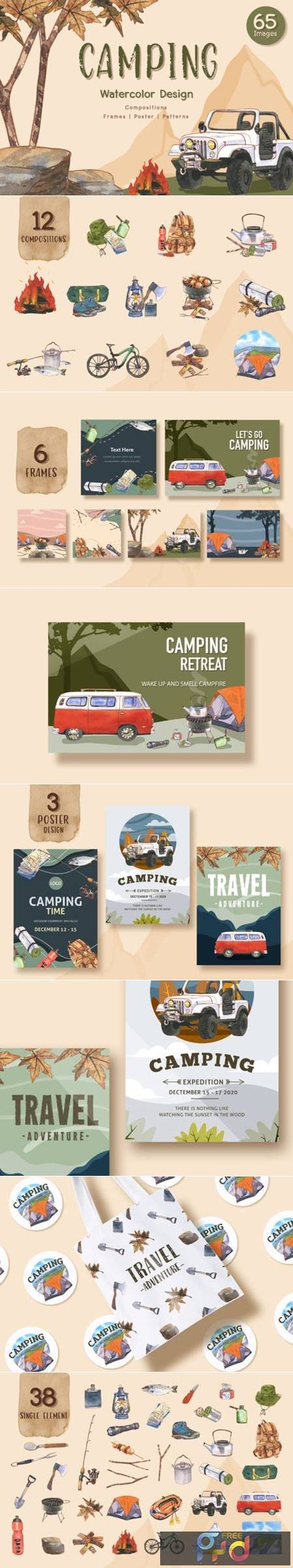 Camping Travel Watercolor Set 4862432 1