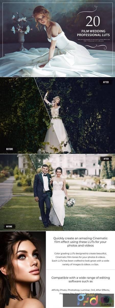 20 Film Wedding LUTs Pack 5602641 1
