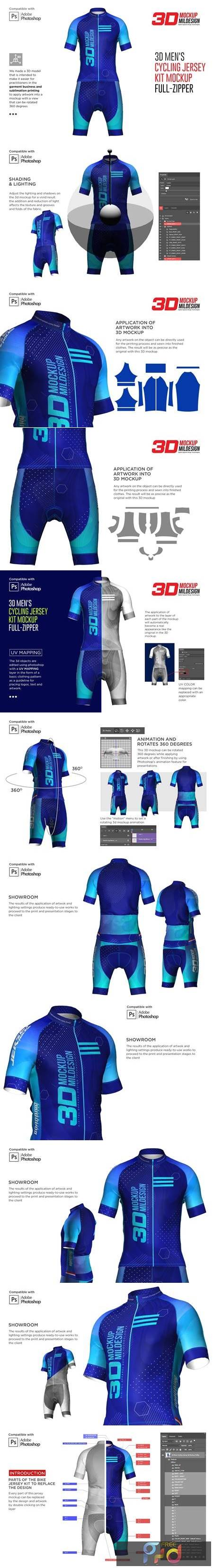 3d Mens Cycling Jersey kit Fullzip 5557438 1